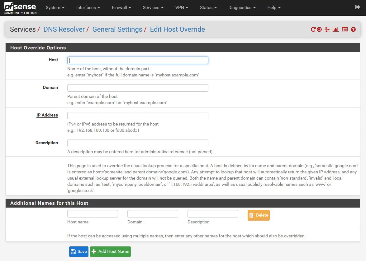 pfSense DNS resolver's 'Host override' page