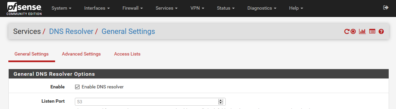 pfSense's DNS resolver page