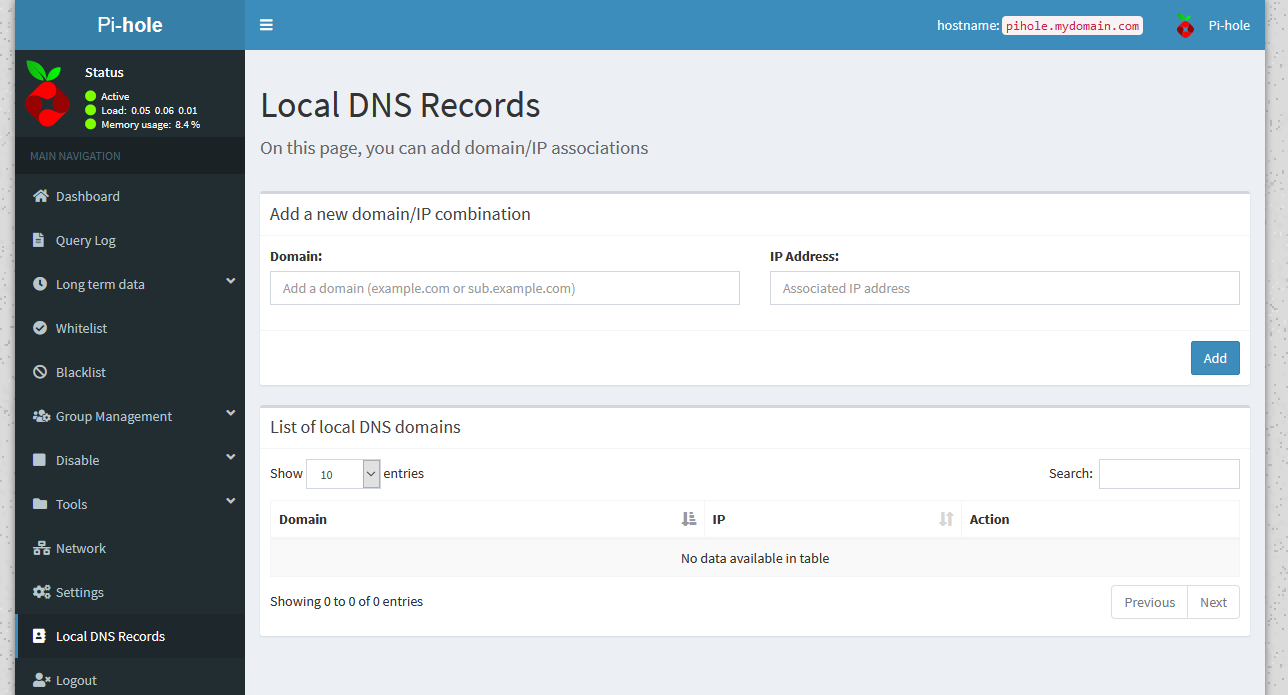Pi-hole's 'Local DNS records' page