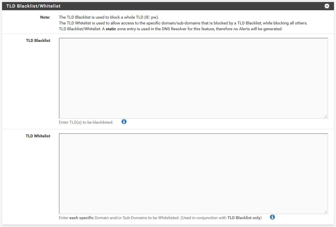 pfBlockerNG has a built-in TLD blacklist option